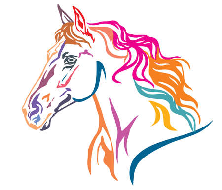 Ilustración de Colorful decorative portrait in profile of beautiful running horse with long mane, vector illustration in different colors isolated on white background. Image for design and tattoo. - Imagen libre de derechos