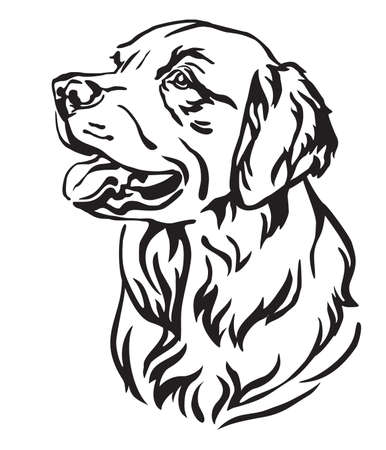 Ilustración de Decorative outline portrait of Dog Golden Retriever looking in profile, vector illustration in black color isolated on white background. Image for design and tattoo. - Imagen libre de derechos