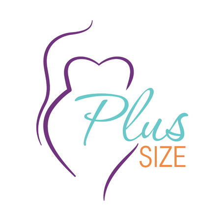 Illustrazione per Plus size line woman icon illustration - Immagini Royalty Free
