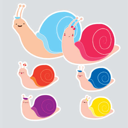 set of colorful snail stickers. Cute cartoon snail family on gray background. Use as stickers fridge magnets bookmarks icons symbols book covers emoticons. Vector isolated Hand draw Nursery art