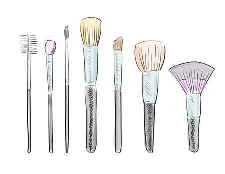 Set of hand drawn makeup brushes