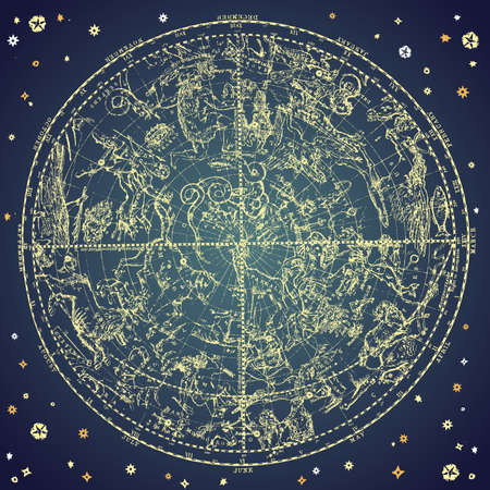 Photo for Vintage zodiac constellation of northen stars.  - Royalty Free Image