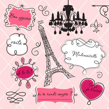 Photo pour Doodle frames in French style - image libre de droit