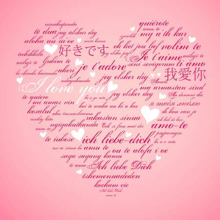 Photo pour Say I love you in many languages - image libre de droit