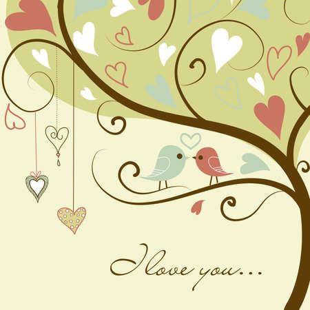 Foto de Stock Vector Illustration: stylized love tree made with two birds in love  - Imagen libre de derechos