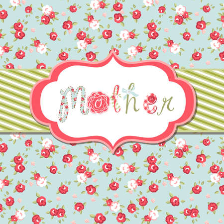 Photo pour Hand drawn Vector floral frame with a word mother. Great Mother's day card - image libre de droit