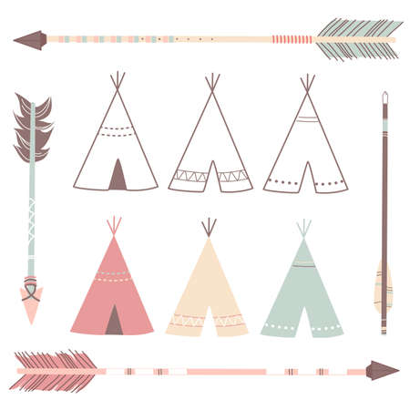 Illustration pour Teepee Tents and arrows - hipster style - image libre de droit