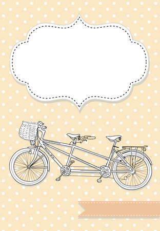 Photo pour Tandem Bicycle Wedding Invitation with polka dot background  - image libre de droit