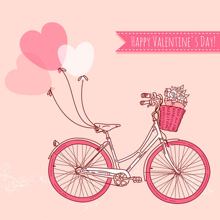 Ilustración de Bicycle with balloons and a basket full of flowers, Romantic Valentine's Day Card  - Imagen libre de derechos