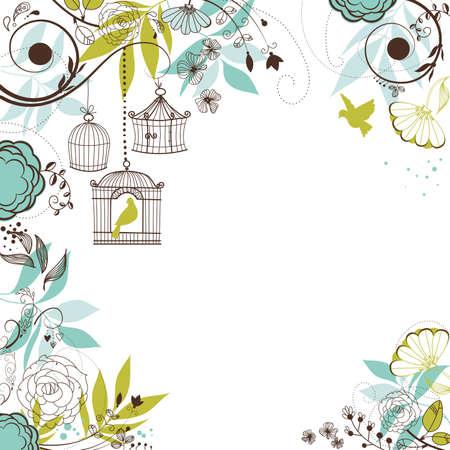 Illustration pour Floral summer background. Birds out of their cages concept  - image libre de droit