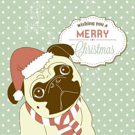 Illustration for Christmas Pug! Cute little gog in santa hat - Royalty Free Image