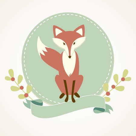 Photo for A Fox, frame and ribbon  - Royalty Free Image