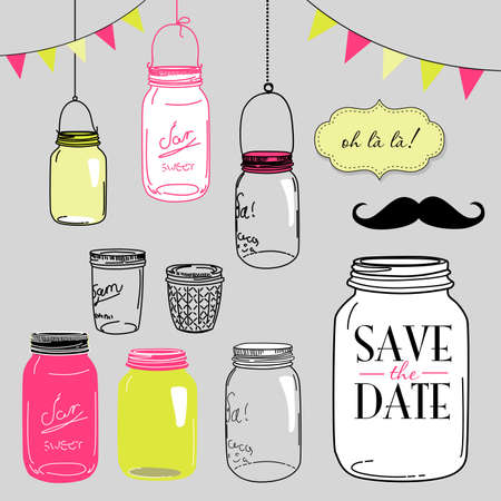 Illustration pour Glass Jars, frames and cute seamless backgrounds. Ideal for wedding invitations and Save the Date invitations  - image libre de droit