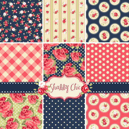 Ilustración de Shabby Chic Rose Patterns and seamless backgrounds. Ideal for printing onto fabric and paper or scrap booking.  - Imagen libre de derechos