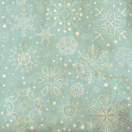 Illustration for Vintage Blue seamless ornament with snowflakes - Royalty Free Image