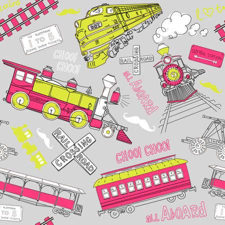 Illustration pour Samles pattern vintage trains and railroad doodles - image libre de droit