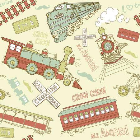 Ilustración de Samles pattern vintage trains and railroad doodles - Imagen libre de derechos