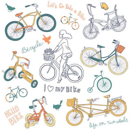 Illustration pour Vintage bicycle set and a beautiful girl riding a bike  - image libre de droit