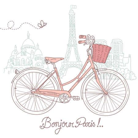 Illustration pour Riding a bike in style, Romantic postcard from Paris  - image libre de droit