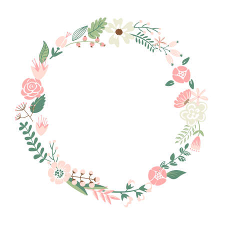 Illustration pour Cute retro flowers arranged in a shape of the wreath perfect - image libre de droit