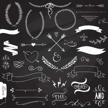 Foto de Wedding graphic set, arrows, hearts, laurel, wreaths, ribbons and labels.  - Imagen libre de derechos