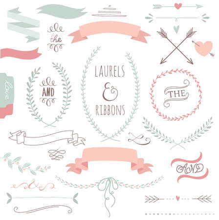 Illustration for Wedding graphic set, arrows, hearts, laurel, wreaths, ribbons and labels.  - Royalty Free Image