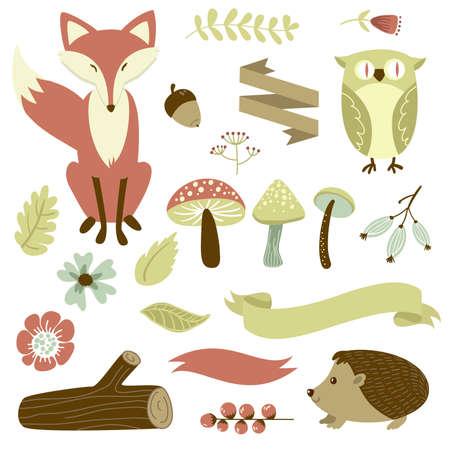 Ilustración de Autumn forest, woodland animals, flowers and ribbons  - Imagen libre de derechos