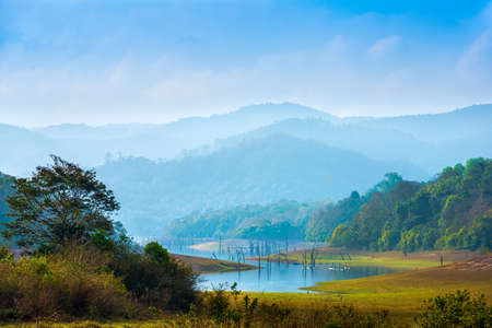Foto de beautiful landscape at  mystical day  with mountains and lake, travel background, Periyar National Park, Kerala, India - Imagen libre de derechos