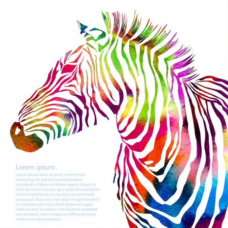 Illustration pour Animal illustration of watercolor zebra silhouette. Vector - image libre de droit