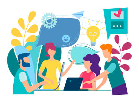 Illustrazione per Training of office staff. Teamwork concept and brainstorming. - Immagini Royalty Free