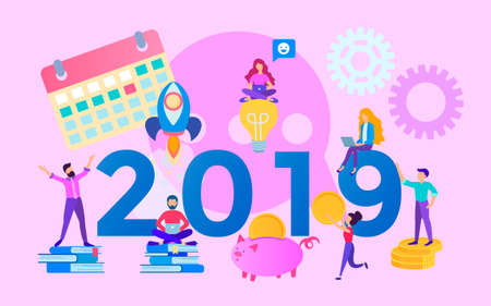 Illustration pour The concept of the year of opportunities 2019, office team,  increasing profits and saving costs, teamwork, corporate concept. Vector illustration for web, posters and social media. - image libre de droit