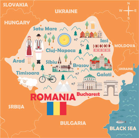 Illustration pour Stylized map of Romania. Travel illustration with romanian landmarks, architecture, national flag and other symbols in flat style. Vector illustration - image libre de droit