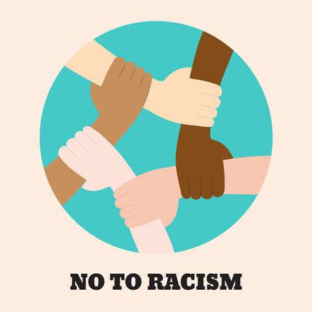 Illustration pour Stop racism icon. Motivational poster against racism and discrimination. Many hands of different races together in a circle. Vector Illustration - image libre de droit