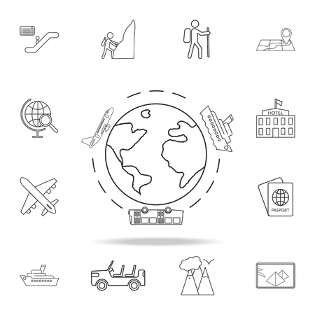 Illustration pour Travel around the world by airplane, bus and ship line Icon. Set of Tourism and Leisure icons. Signs, outline furniture collection, simple thin line icons for websites, web design on white background - image libre de droit