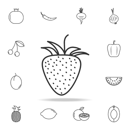Strawberry icon. Set of fruits and vegetables icon. Premium quality graphic design. Signs, outline symbols collection, simple thin line icon for websites, web design, mobile app on white background