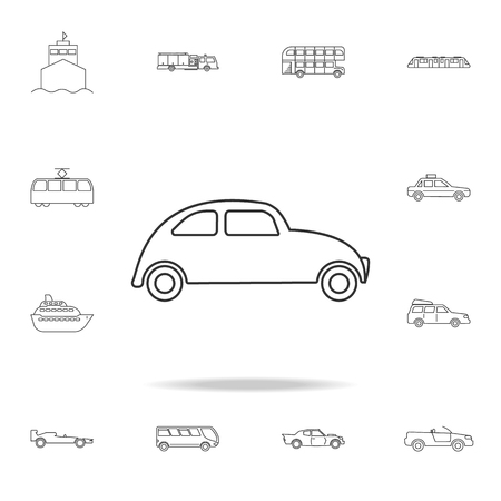 Illustration pour Car icon. Small urban city vehicle icon. Detailed set of transport outline icons. Premium quality graphic design icon. One of the collection icons for websites, web design on white background - image libre de droit