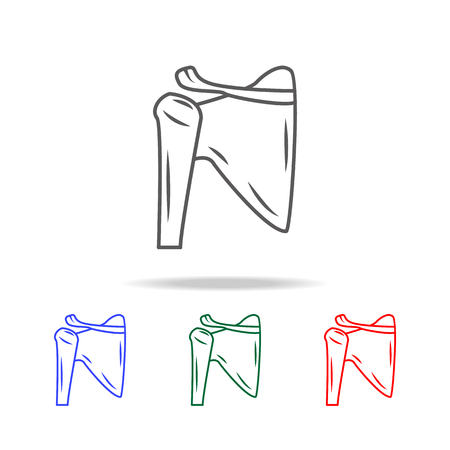 Ilustración de Shoulder joint isolated icon. Elements of human body part multi colored icons. Premium quality graphic design icon. Simple icon for websites, web design, mobile app, info graphics on white background. - Imagen libre de derechos