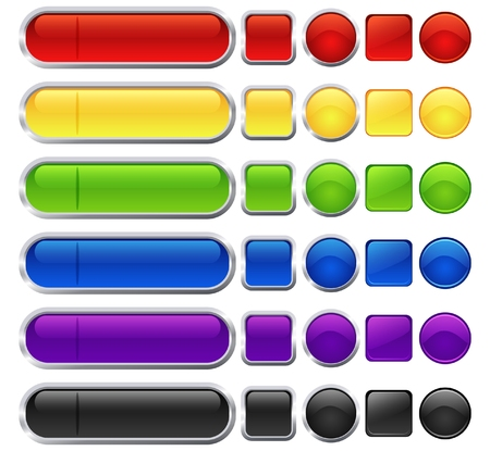 Illustration pour Set of different shape and color blank web buttons - image libre de droit