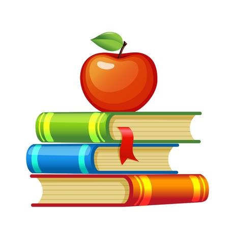 Illustration pour Red apple on a pile of books - image libre de droit