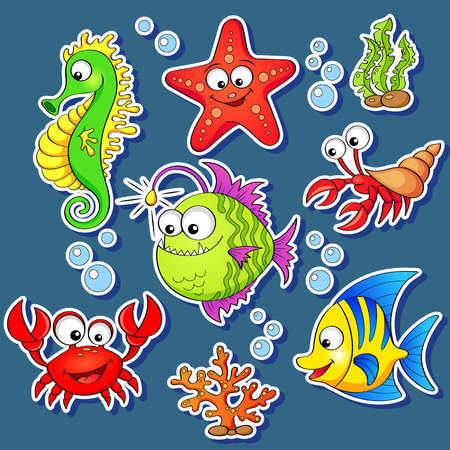 Photo pour Stickers of cute cartoon sea animals - image libre de droit
