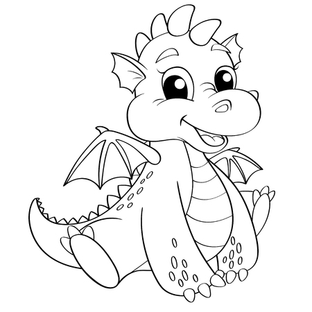 Illustration for Cute dragon. Black and white illustration for coloring book - Royalty Free Image