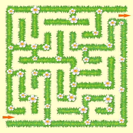 Illustration pour Labyrinth. Maze game for kids. Green grass and chamomiles - image libre de droit