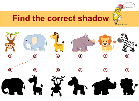 Ilustración de Find correct shadow. Kids educational game. African animals. Lion, elephant, giraffe, monkey, zebra and rhinoceros - Imagen libre de derechos