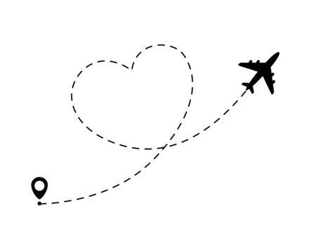 Illustration pour Airplane line path in heart form. Romantic and love travel concept - image libre de droit