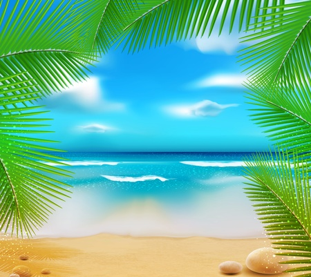 Illustration pour landscape with a sky-blue ocean, golden sands and palm trees - image libre de droit