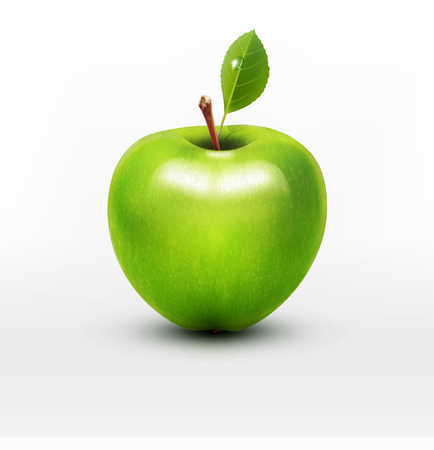 Illustration pour vector green apple with green leaf isolated on a white background - image libre de droit