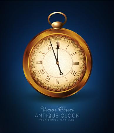 Illustration pour vector vintage pocket watch on a blue background - image libre de droit