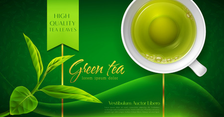 Illustration for Vector 3d illustration with a mug of green tea and leaves on a green background. Template for packing. Element for design, advertising of product promotion, banner - Royalty Free Image