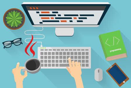 Ilustración de programmers workplace - Imagen libre de derechos