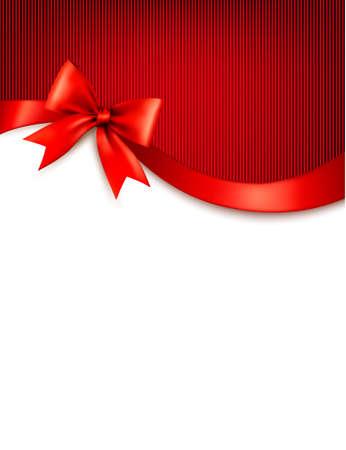 Ilustración de Holiday background with red gift glossy bow and ribbons. Vector. - Imagen libre de derechos